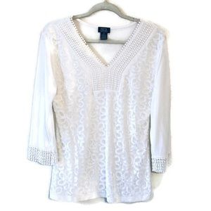 Shannon Ford NY Lacey White Long Sleeve Blouse